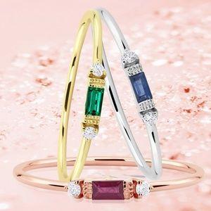 Royal Blue Baguette CZ Silver Engagement Ring